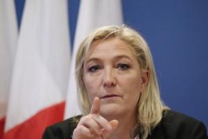 Marine Le Pen, en conférence de presse, à Nanterre, le 16 janvier. (Photo Matthieu Alexandre. AFP)