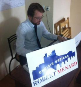 Arnaud Naudin participant à la campagne de Robert Ménard, en septembre 2013. © Facebook d'Arnaud Naudin.