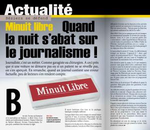 L'article attaquant Midi-Libre dans le journal municipal, en juillet 2014.