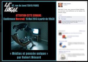 Serge Ayoub lui-même annonce la conférence de Robert Ménard sur son compte Facebook.