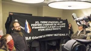 Militants antiracistes pour accueillir Marine le Pen