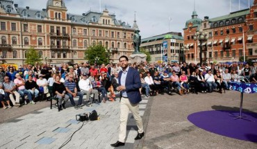 FILE PHOTO: Jimmie Akesson, leader of the Sweden Democrats, campaigns in Sundsvall